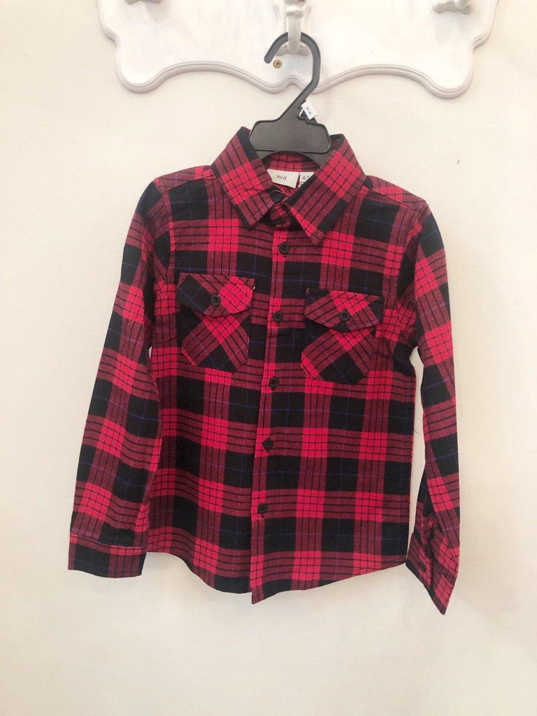 Top - Kids Plaid Long Sleeve Button Down Shirt