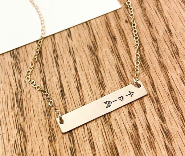 Jewelry - Ebb & Flow Heart Arrow Bar Necklace