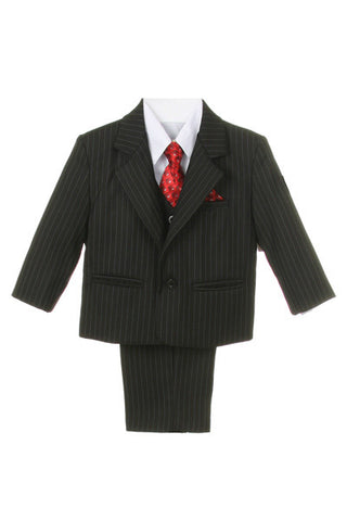 Outfit - Boys Black/White Pin Striped Suit