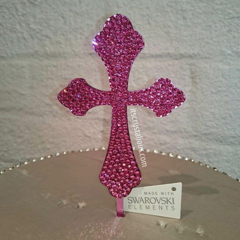 Rose Crystalicious® 4 inch Curved Cross Cake Topper - Solid *