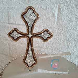 "6"" Cross Cake Topper - Double Outlined * - It's Crystalicious®"