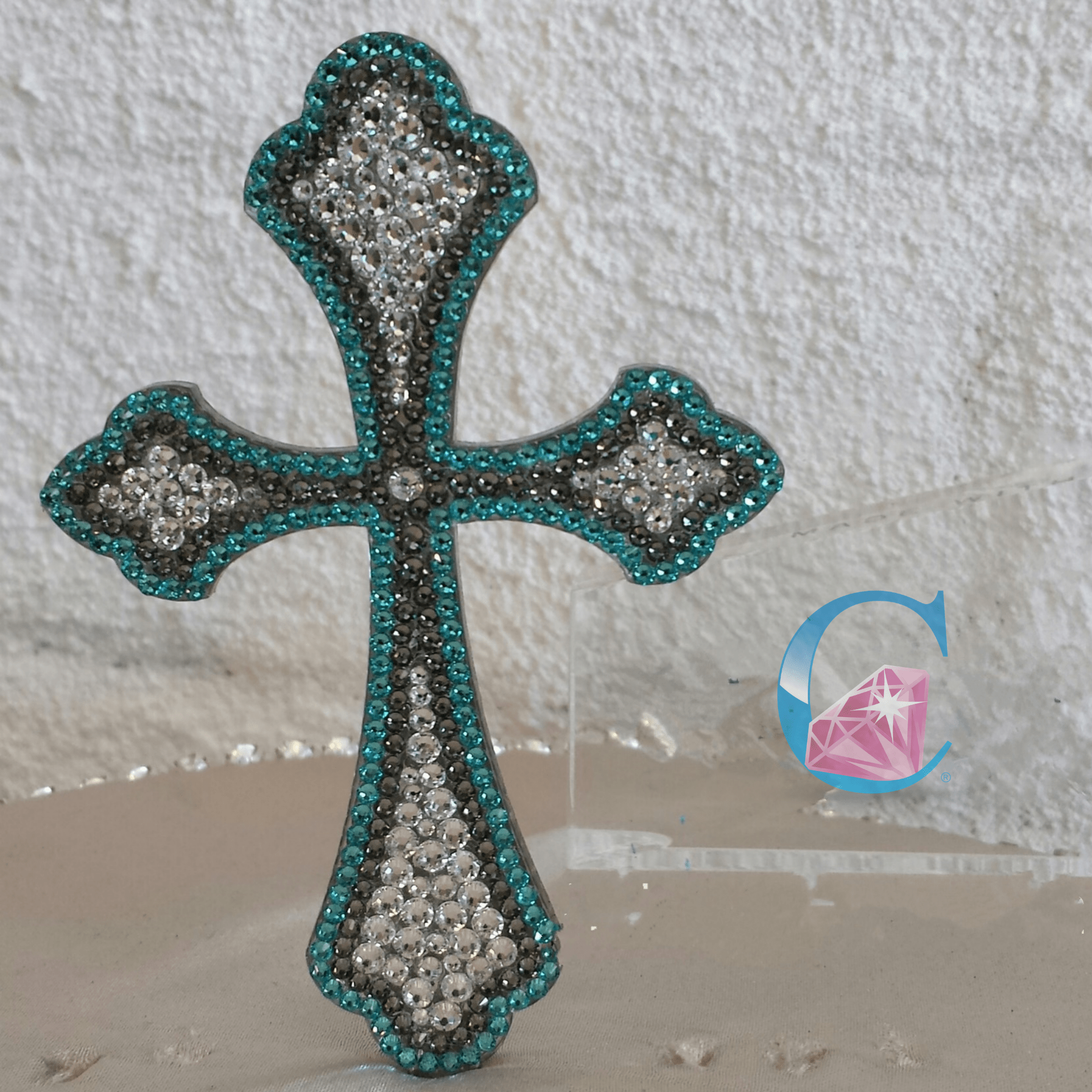 Crystalicious® Curved Cross Cake Topper - Double Outline* - It's Crystalicious®