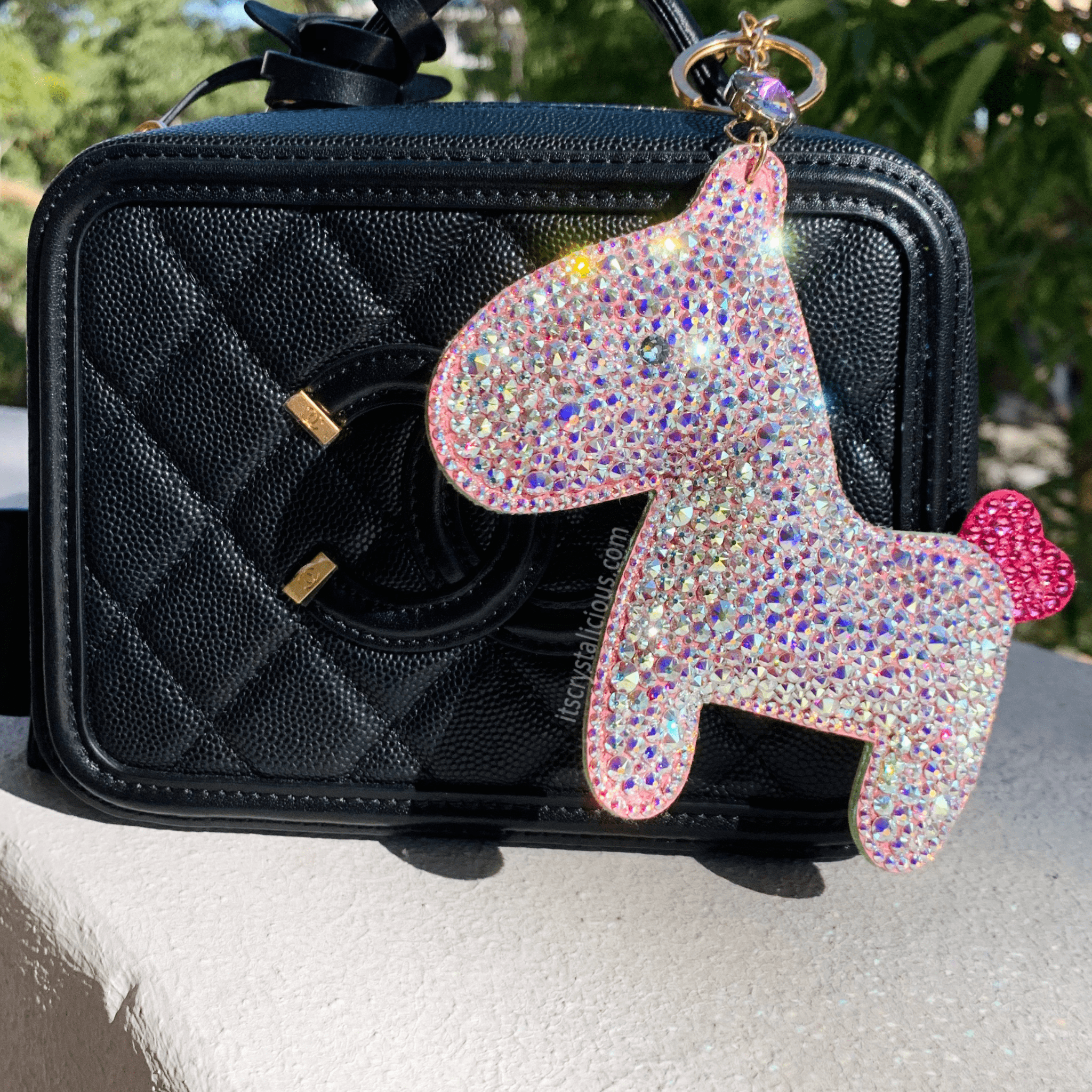 Leather Pony Crystal Bagcharm Keychain - Crystal AB * - It's Crystalicious®
