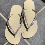 Gold Thin Strap Havaianas with Crystal AB - 2 Rows* - It's Crystalicious®