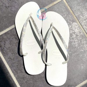 White Thin Strap embellished Havaianas - 3 Rows * - It's Crystalicious®