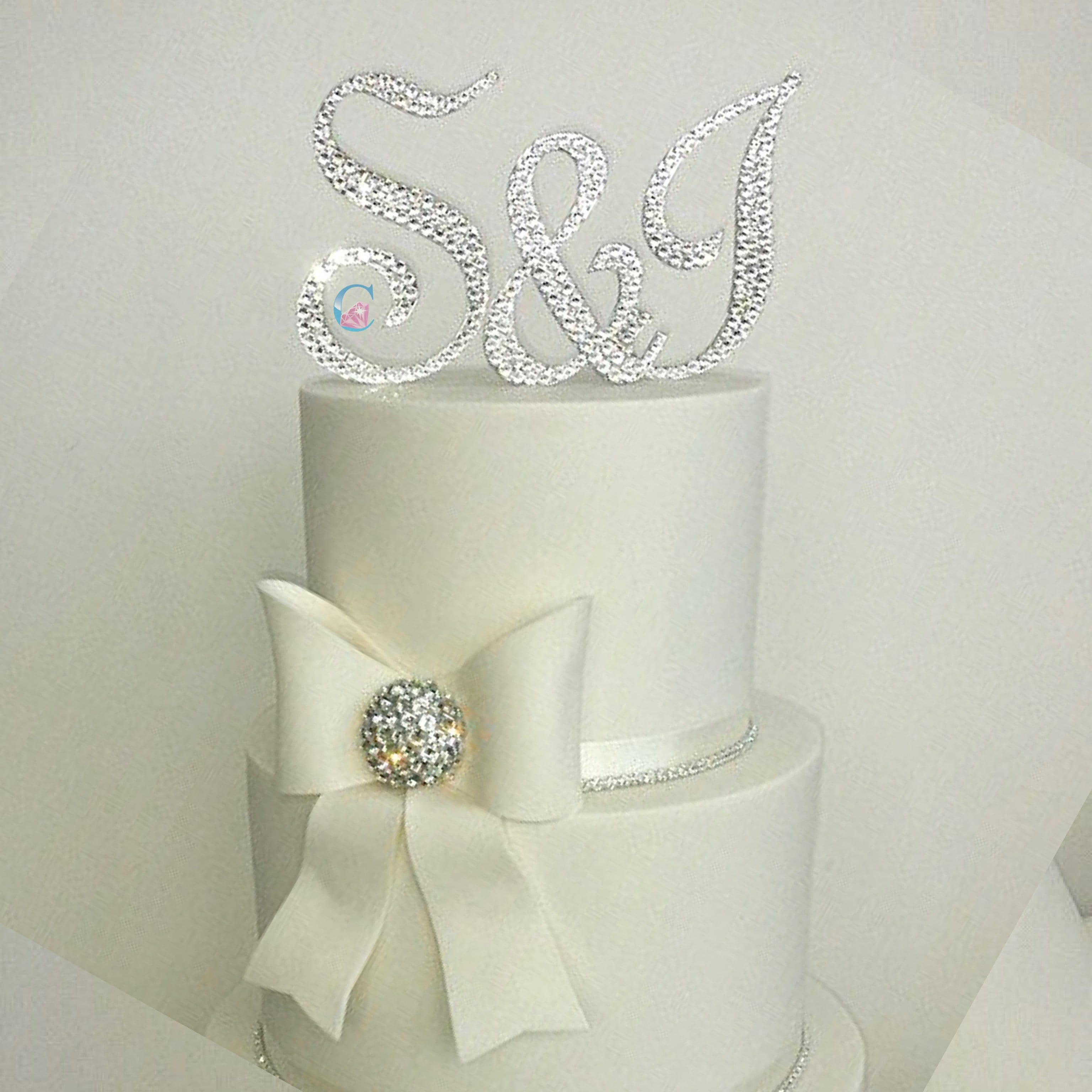 Set of 3 - Crystal embellished Monogram Initials Cake Topper - Typo Upright BT* - It's Crystalicious®