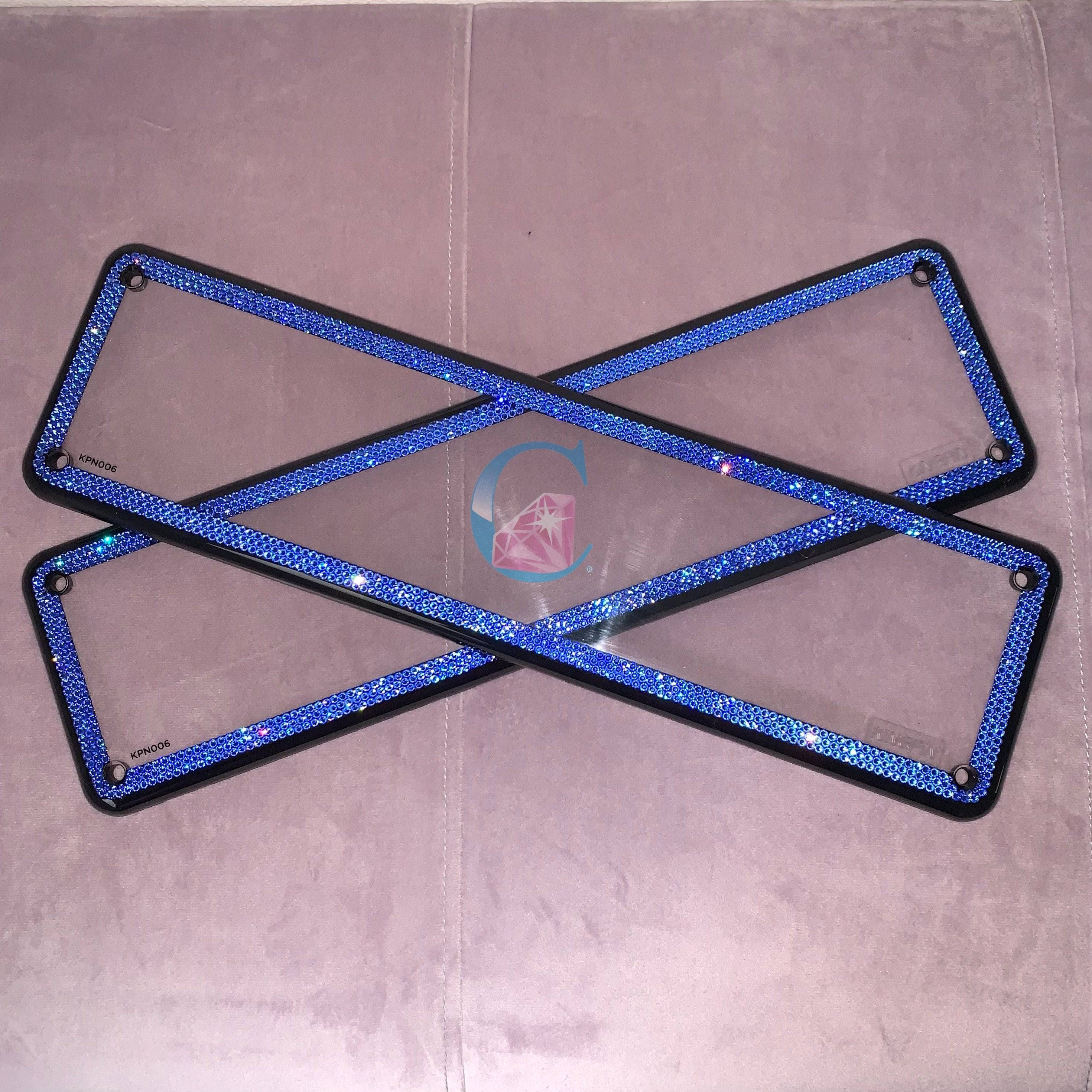 Set of 2 - Crystalicious® 3 Row Number Plate Frame - Sapphire *