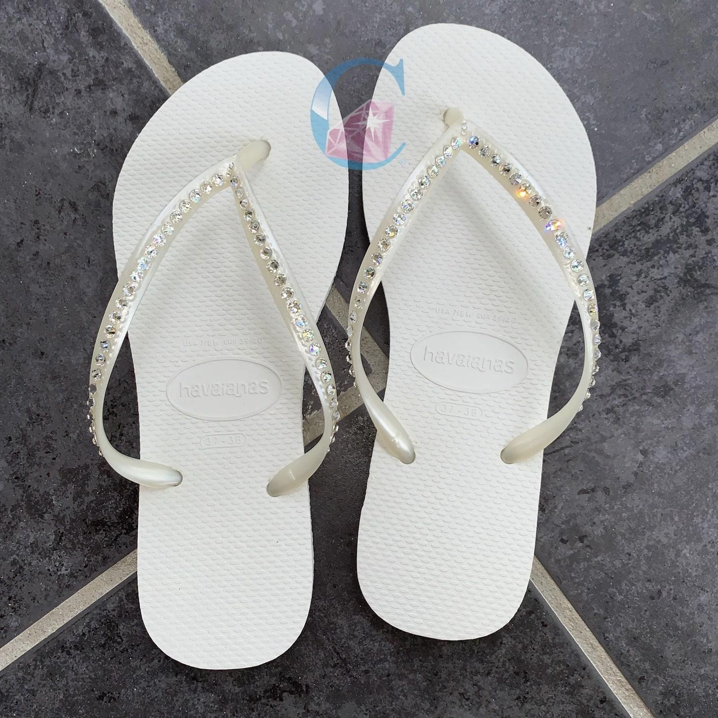 White Thin Strap Crystal embellished Havaianas - 1 Row * - It's Crystalicious®