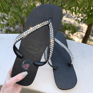 Black Thick Strap Havaianas with Crystal Clear - 2 Rows * - It's Crystalicious®