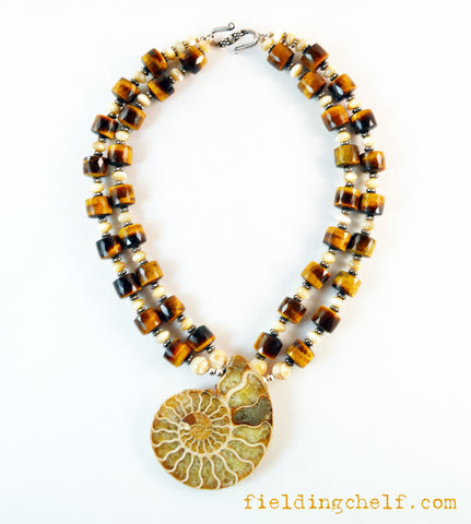 Ammonite and Tiger Eye Necklace