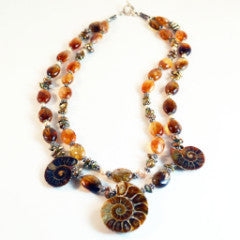 Ammonite and Citrine Two Strand Necklace