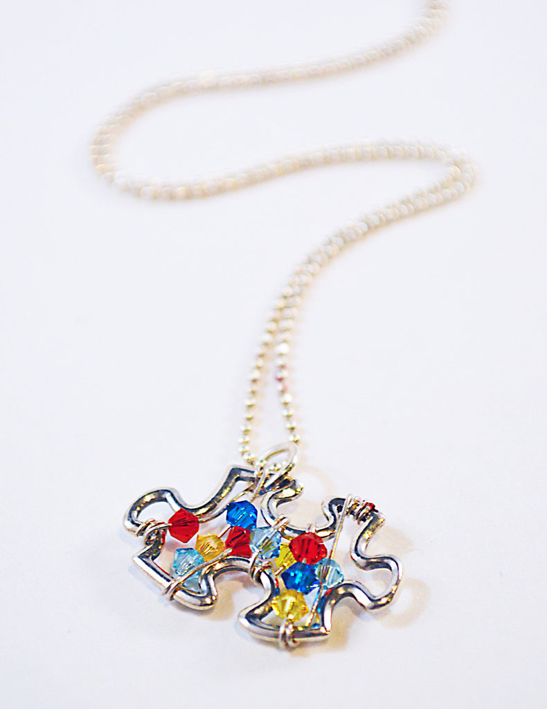 Sterling Autism Awareness Puzzle Charm Necklace