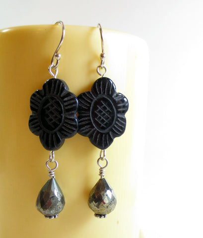 Carved Black Stone and Pyrite Earrings