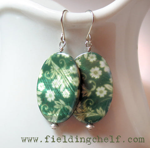 Green Calico Earrings