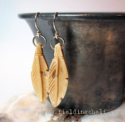 Carved Bone Feather Earrings