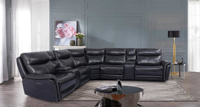 AVIATOR 7PC TOP GRAIN LEATHER SECTIONAL
