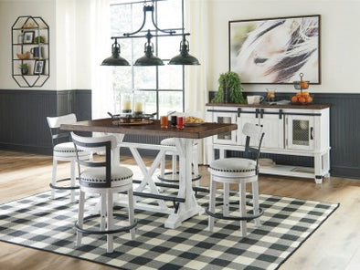 VALEBECK 5 PC DINING SET - Counter height table and 4 bar stools