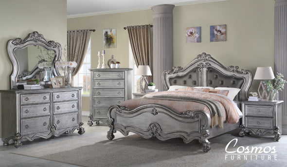 Adriana - Silver - Upholstered Queen Bed