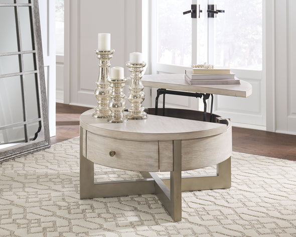 Urlander - Whitewash - Round Lift Top Cocktail Table