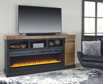 Tonnari - Two-tone Brown - 74 TV Stand with Wide Fireplace Insert