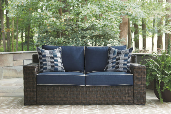 Grasson Lane - Brown/Blue - Loveseat w/Cushion