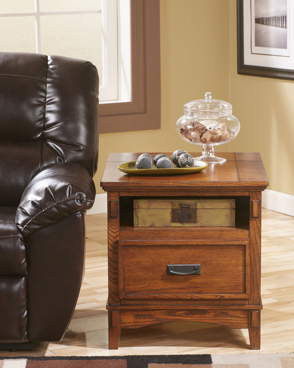 Cross Island - Medium Brown - Rectangular End Table