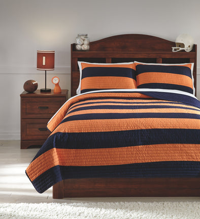 Nixon - Navy/Orange -  Coverlet Set