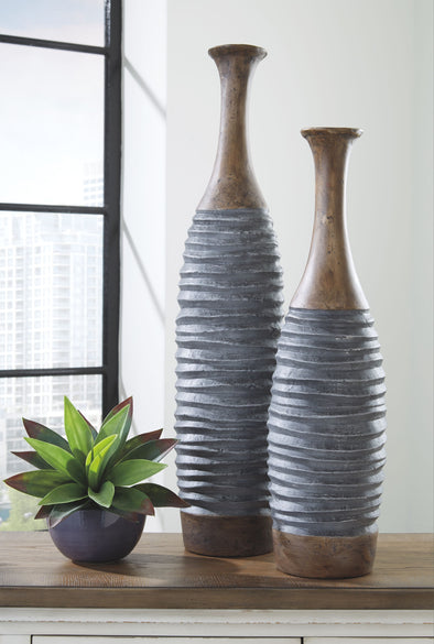 BLAYZE - Antique Gray/Brown - Vase Set (2/CN)