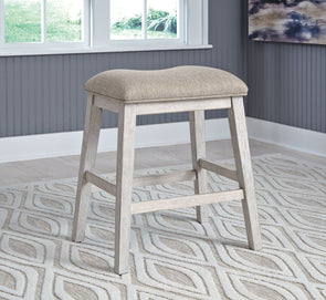 Skempton - White/Light Brown - Upholstered Stool (2/CN)