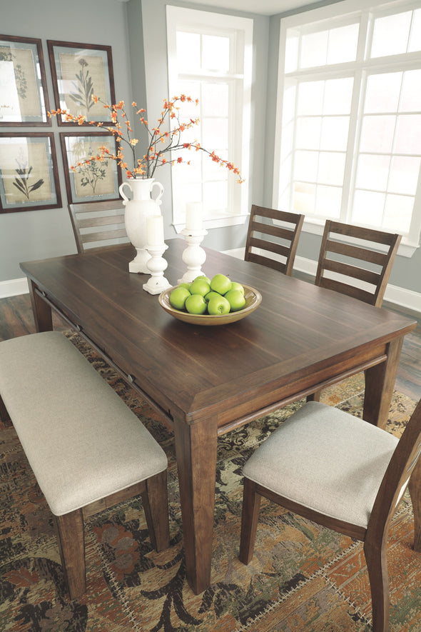 Flynnter - Medium Brown - 6 Pc. - RECT DRM Table, 4 UPH Side Chairs & Bench