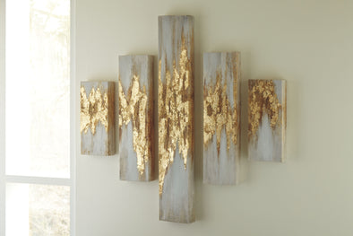 Devlan - Gold Finish/White - Wall Art Set (5/CN)