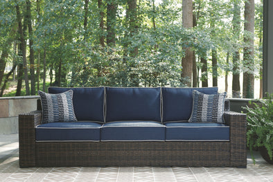 Grasson Lane - Brown/Blue - Sofa with Cushion