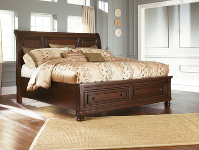 Porter - Rustic Brown -  Sleigh Storage Bed