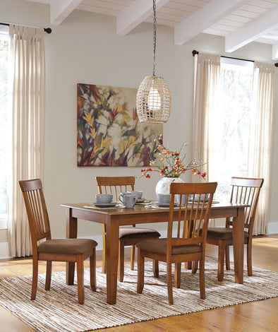 Berringer - Rustic Brown - 5 Pc. - RECT DRM Table & 4 UPH Side Chairs