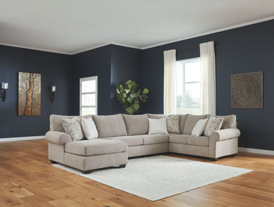 Baranello - Stone - LAF Corner Chaise, Armless Loveseat & RAF Sofa with Corner Wedge Sectional