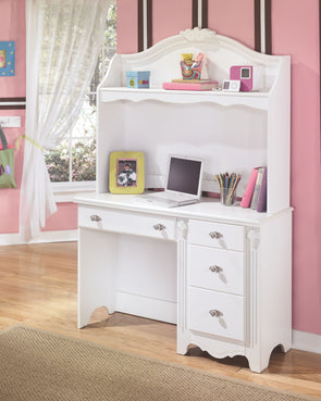 Exquisite - White - Desk with Hutch