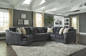 Eltmann - Slate - LAF Cuddler, Armless Loveseat & RAF Sofa with Corner Wedge Sectional