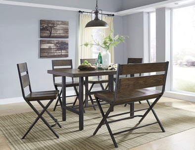 Kavara - Medium Brown - 6 Pc. - RECT DRM Counter Table, 4 Barstools & Double Barstool