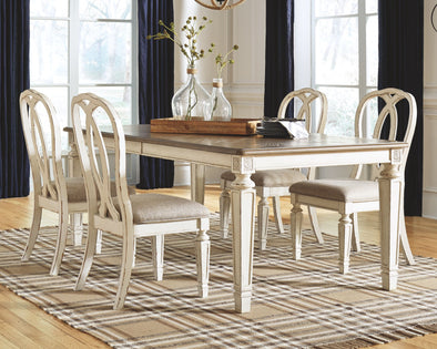 Realyn - Chipped White - 5 Pc. - RECT DRM EXT Table & 4 UPH Side Chairs
