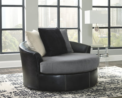 Jacurso - Charcoal - Oversized Swivel Accent Chair