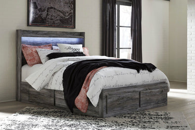 Baystorm - Gray -  Panel Storage Bed