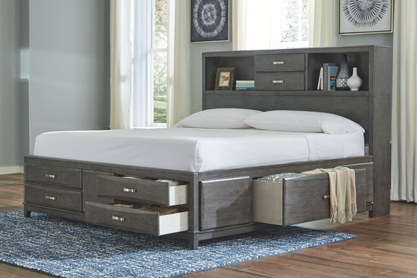 Caitbrook - Gray -  Storage Bed