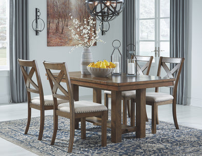 Moriville - Grayish Brown - 5 Pc. - RECT DRM EXT Table & 4 UPH Side Chairs