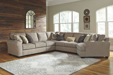 Pantomine - Driftwood - LAF Loveseat, Armless Chair, Wedge, Armless Loveseat & RAF Cuddler Sectional