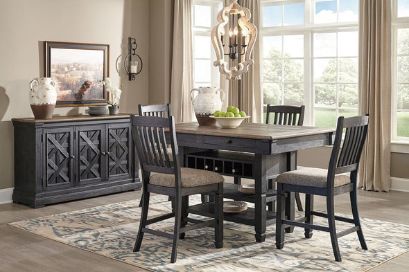 Tyler Creek - Black/Gray - 6 Pc. - RECT DRM Counter Table, 4 UPH Barstools & Server