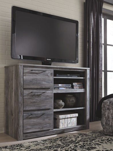 Baystorm - Gray - Media Chest w/Fireplace Option
