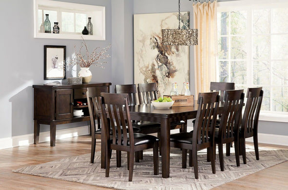 Haddigan - Dark Brown - 10 Pc. - RECT DRM EXT Table, 8 UPH Side Chairs & Server