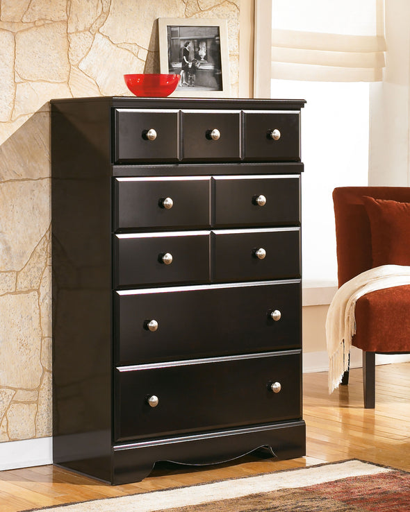 Shay - Almost Black - Five Drawer Chest