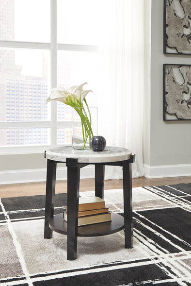 Janilly - Dark Brown/White - Round End Table