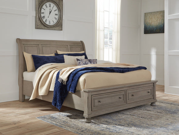 Lettner - Light Gray -  Sleigh Bed with Storage